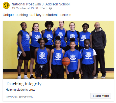 National Post features J. Addison School