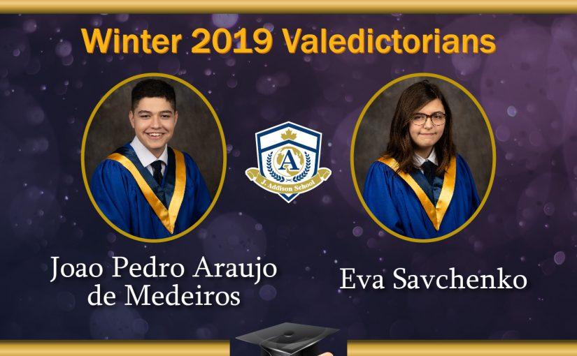 2018-2019 Winter Graduate Valedictorians