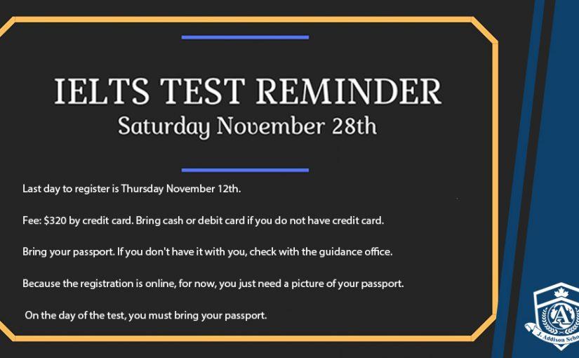 IELTS Reminder November 28, 2020